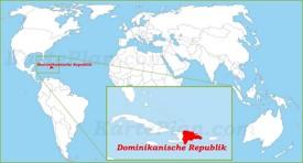 Dominikanische Republik auf der Weltkarte