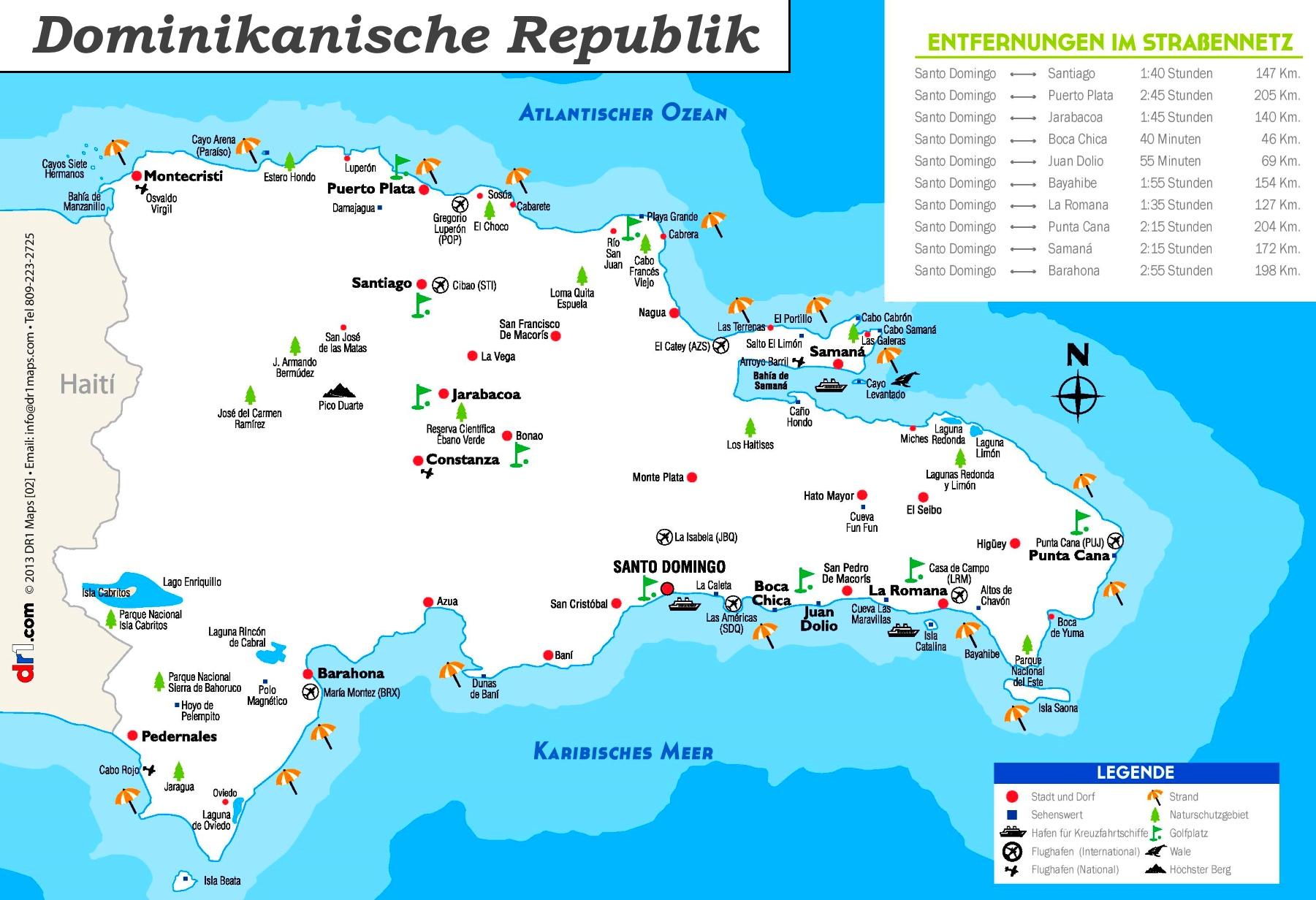 Dominikanische Republik Touristische Karte