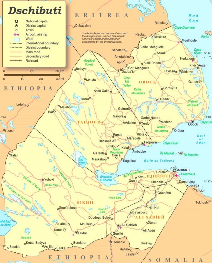 Dschibuti politische karte