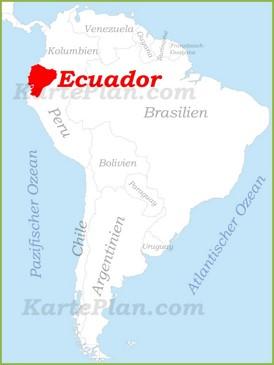 Ecuador auf der karte Südamerikas