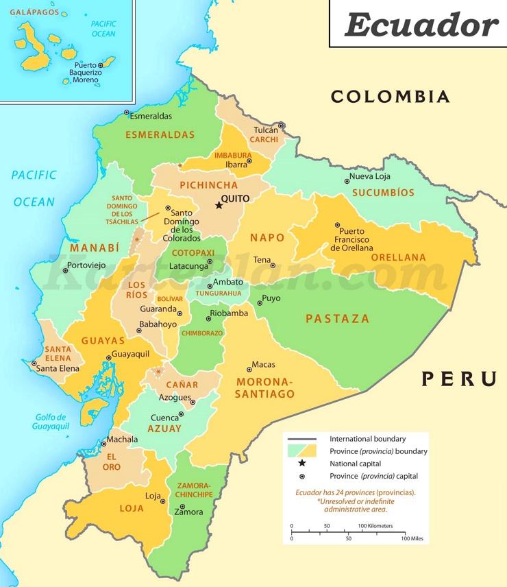 Ecuador politische karte