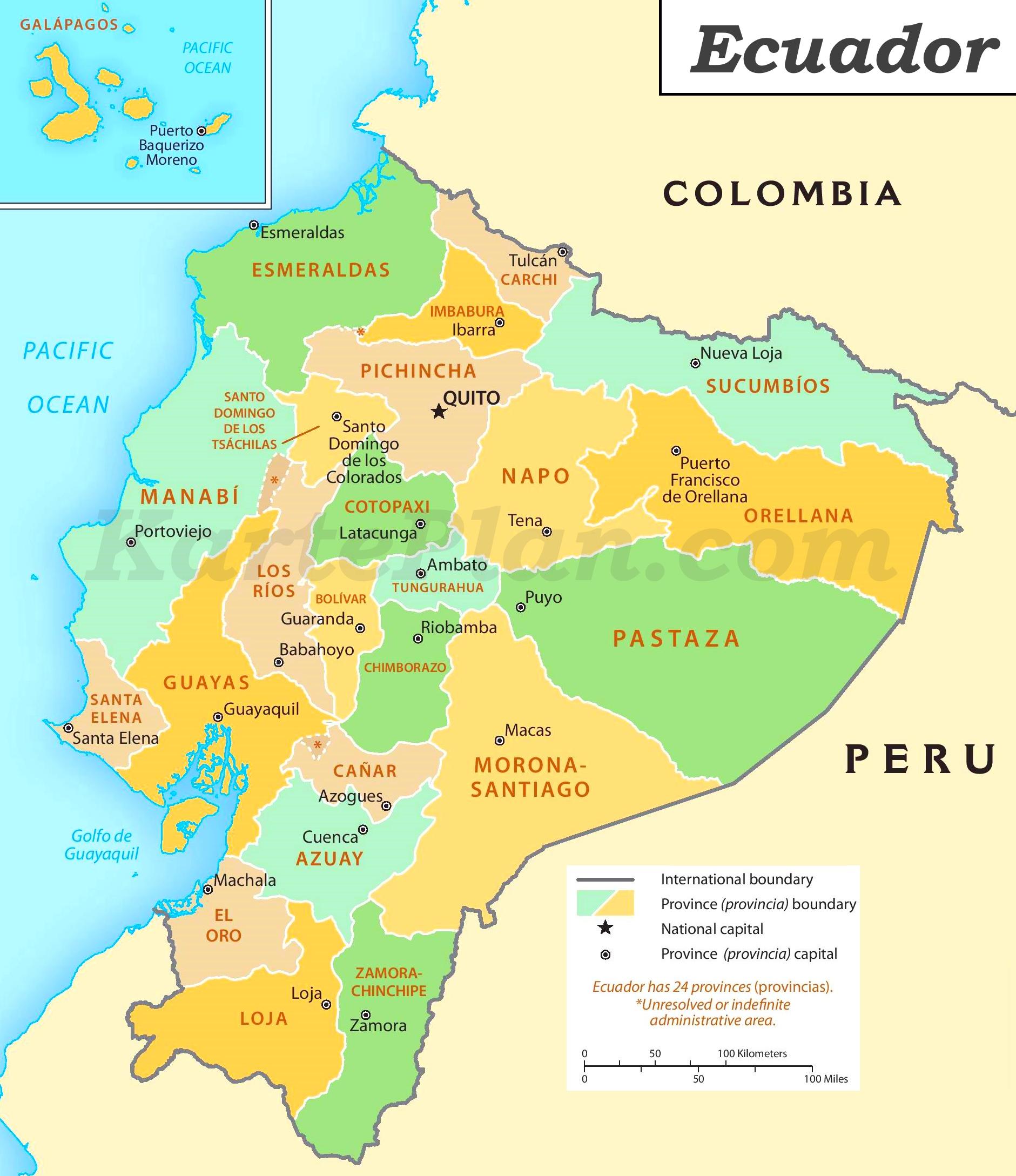 ecuador karte Ecuador politische karte