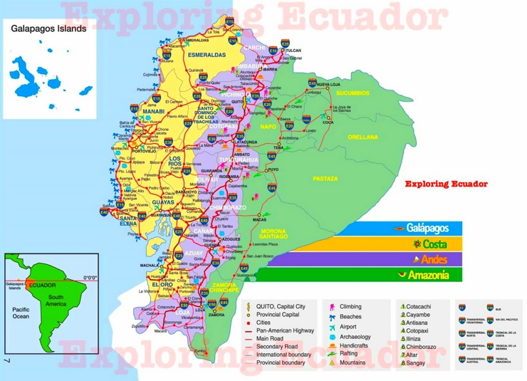 Ecuador touristische karte