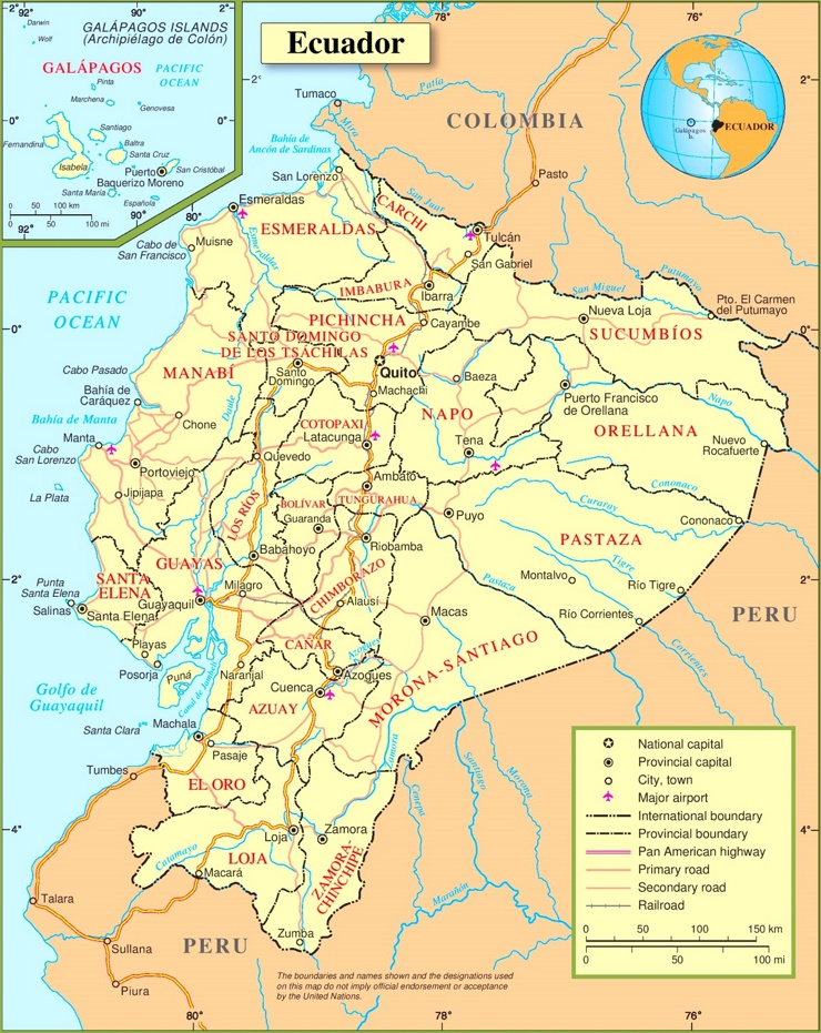 Straßenkarte Ecuador