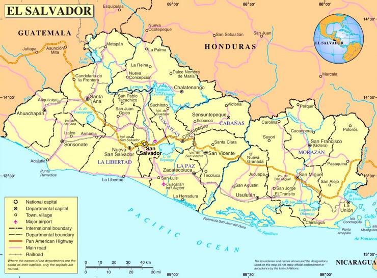 El Salvador politische karte