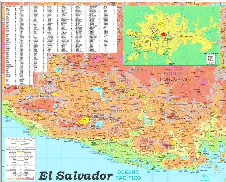 Große detaillierte karte von El Salvador