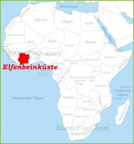 Elfenbeinküste auf der karte Afrikas