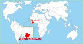 Elfenbeinküste auf der Weltkarte