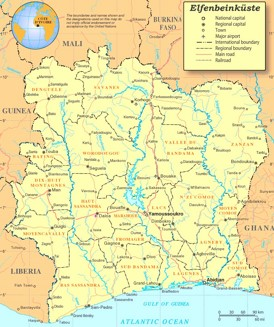 Elfenbeinküste politische karte