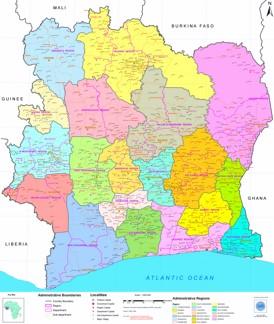 Große detaillierte karte von Elfenbeinküste