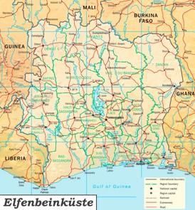 Straßenkarte Elfenbeinküste