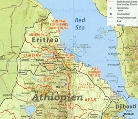 Detaillierte karte von Eritrea