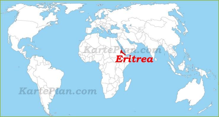 Eritrea auf der Weltkarte