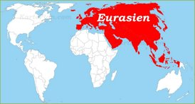 Eurasien auf der Weltkarte