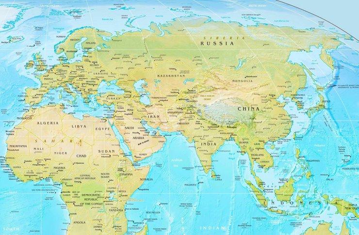 Physische landkarte von Eurasien