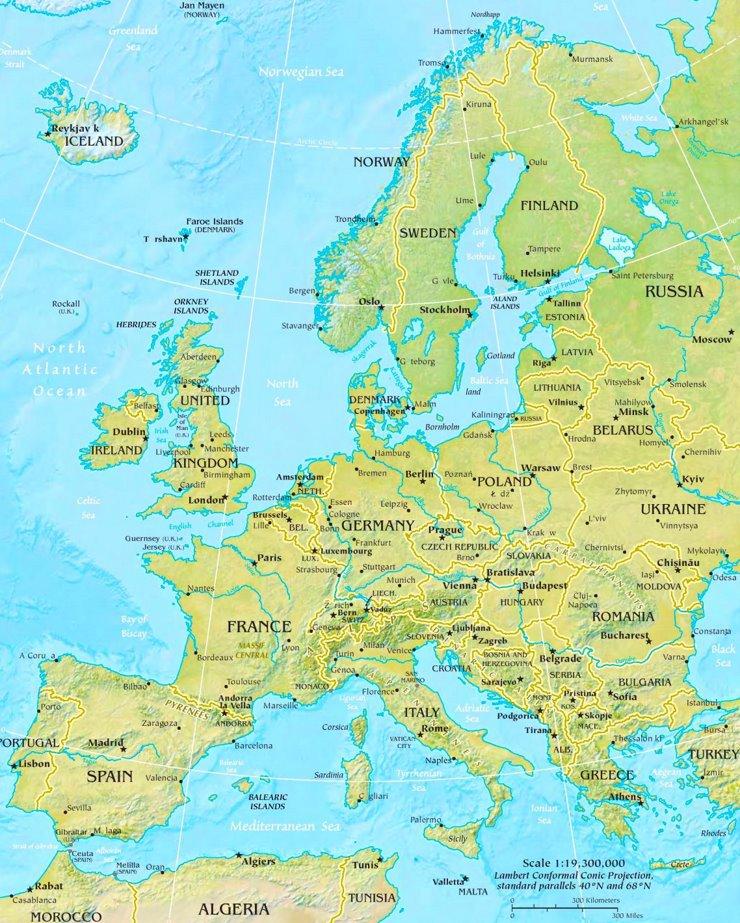 Physische landkarte von Europa