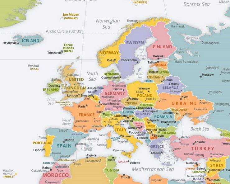 Politische Karte Europas mit den Hauptstädten