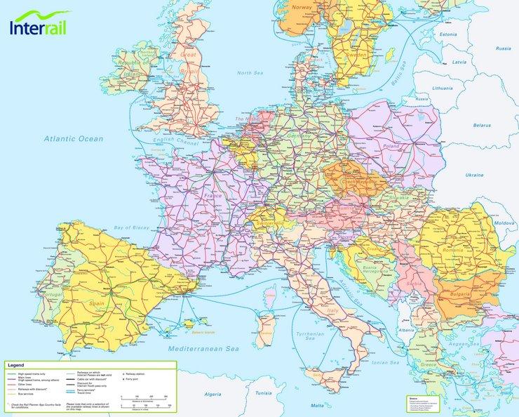 Schienennetz Karte von Europa