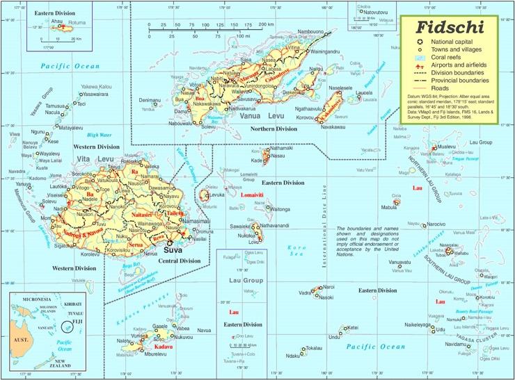 Fidschi politische karte