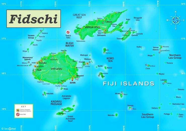 Fidschi touristische karte