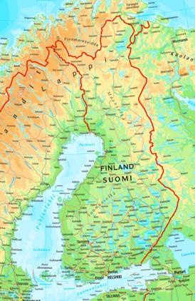 Physische landkarte von Finnland