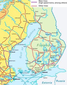 Schienennetz Karte von Finnland