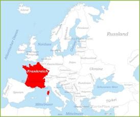 Frankreich auf der karte Europas