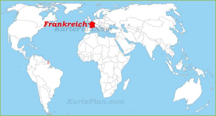 Frankreich auf der Weltkarte