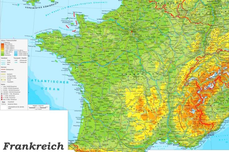 Große detaillierte karte von Frankreich