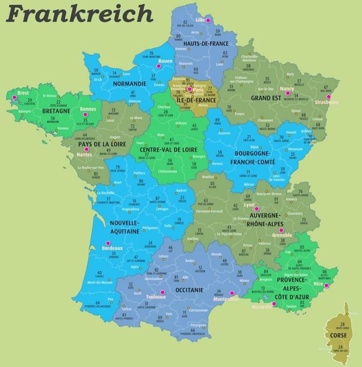 Karte der französischen Départements