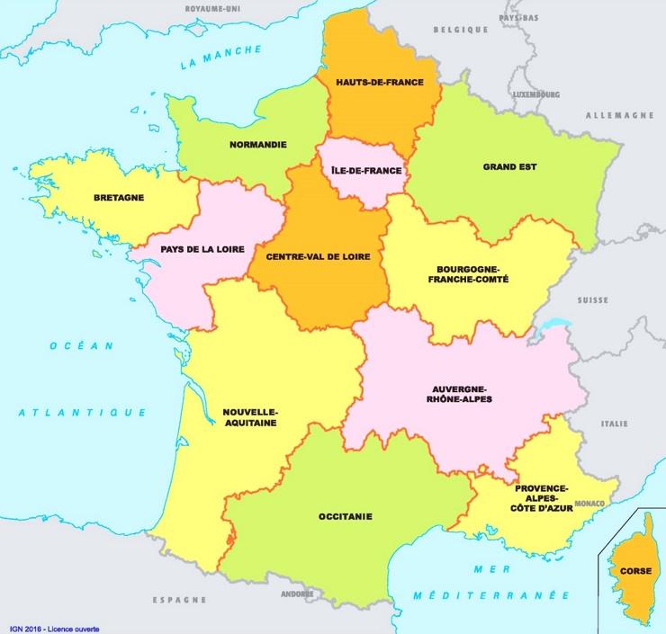 Karte der französischen regionen