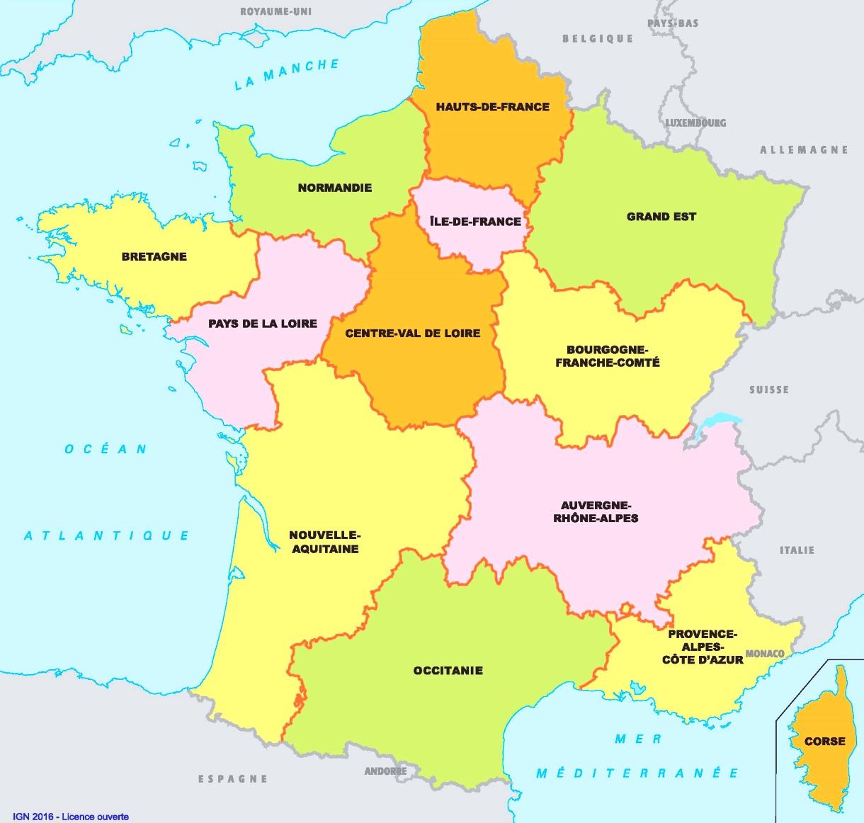 Frankreich Karte Regionen.Karte Der Französischen Regionen