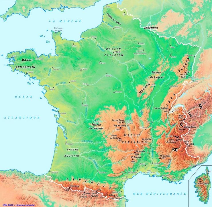 Physische landkarte von Frankreich