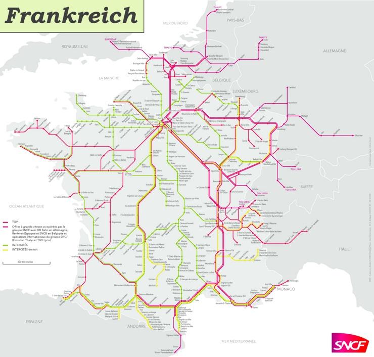 Schienennetz Karte von Frankreich