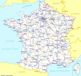 Straßenkarte Frankreich