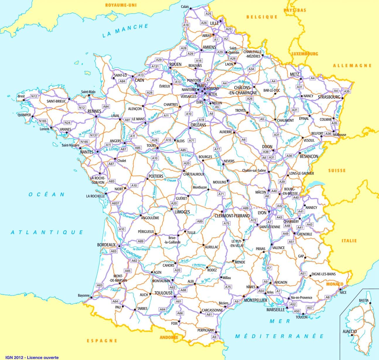 strassenkarte frankreich
