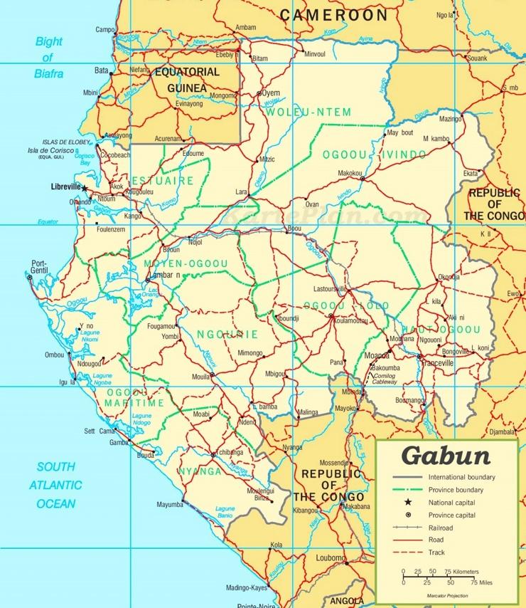 Straßenkarte Gabun