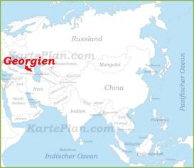 Georgien auf der karte Asiens