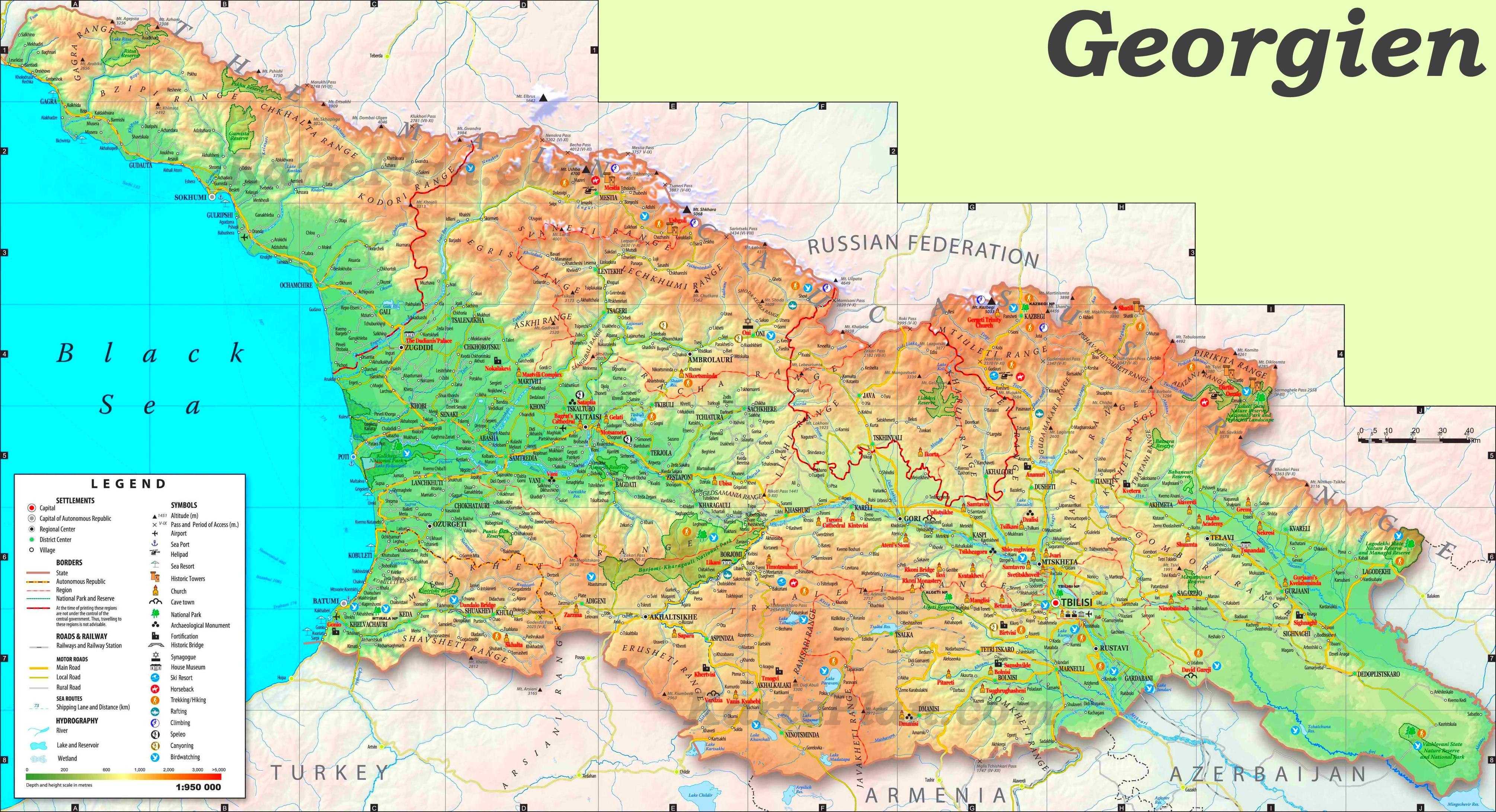Georgien Touristische Karte