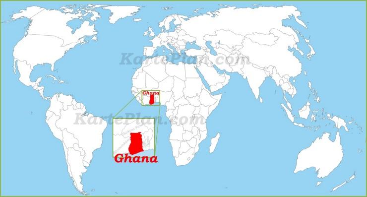 Ghana auf der Weltkarte