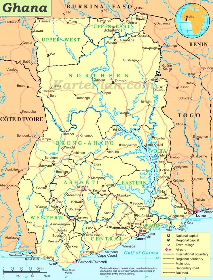 Ghana politische karte
