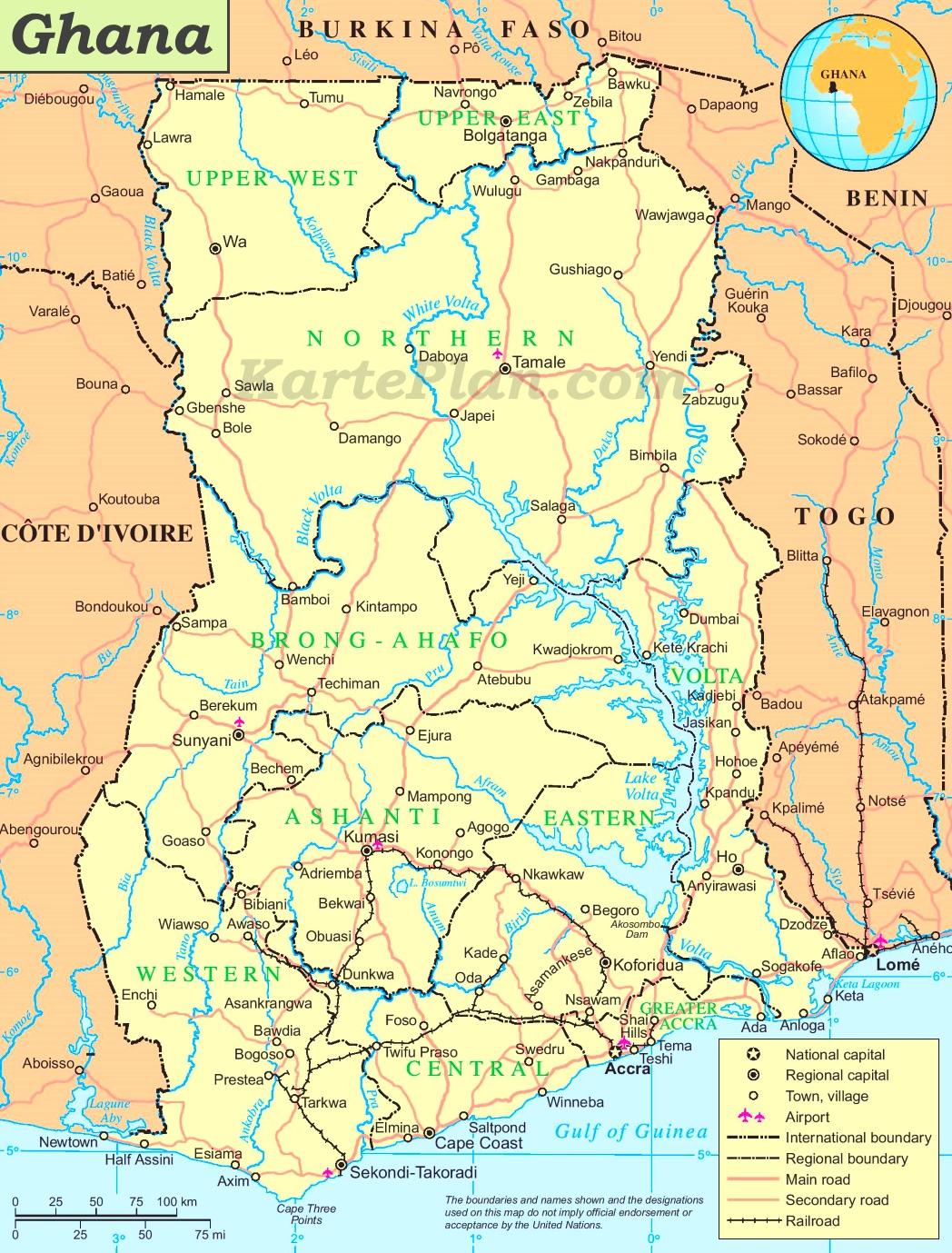 ghana karte Ghana politische karte