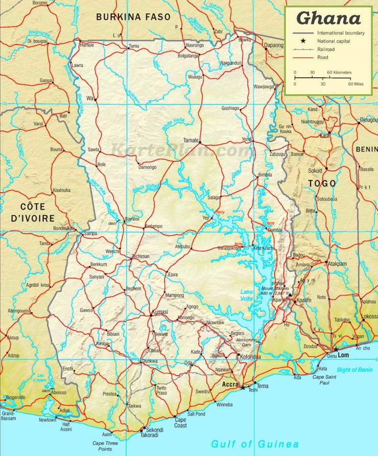Straßenkarte Ghana