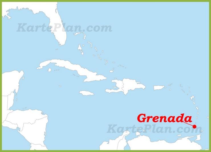 Grenada auf der karte Karibiks