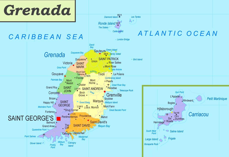 grenada karte Grenada politische karte