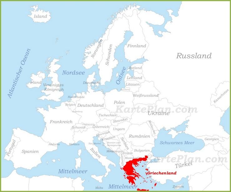 Griechenland auf der karte Europas