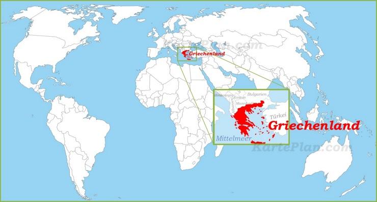 Griechenland auf der Weltkarte