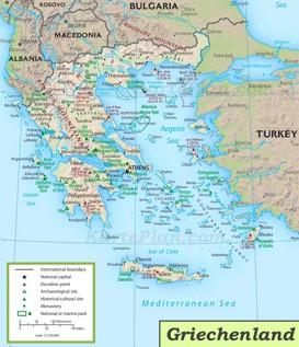 Griechenland touristische karte