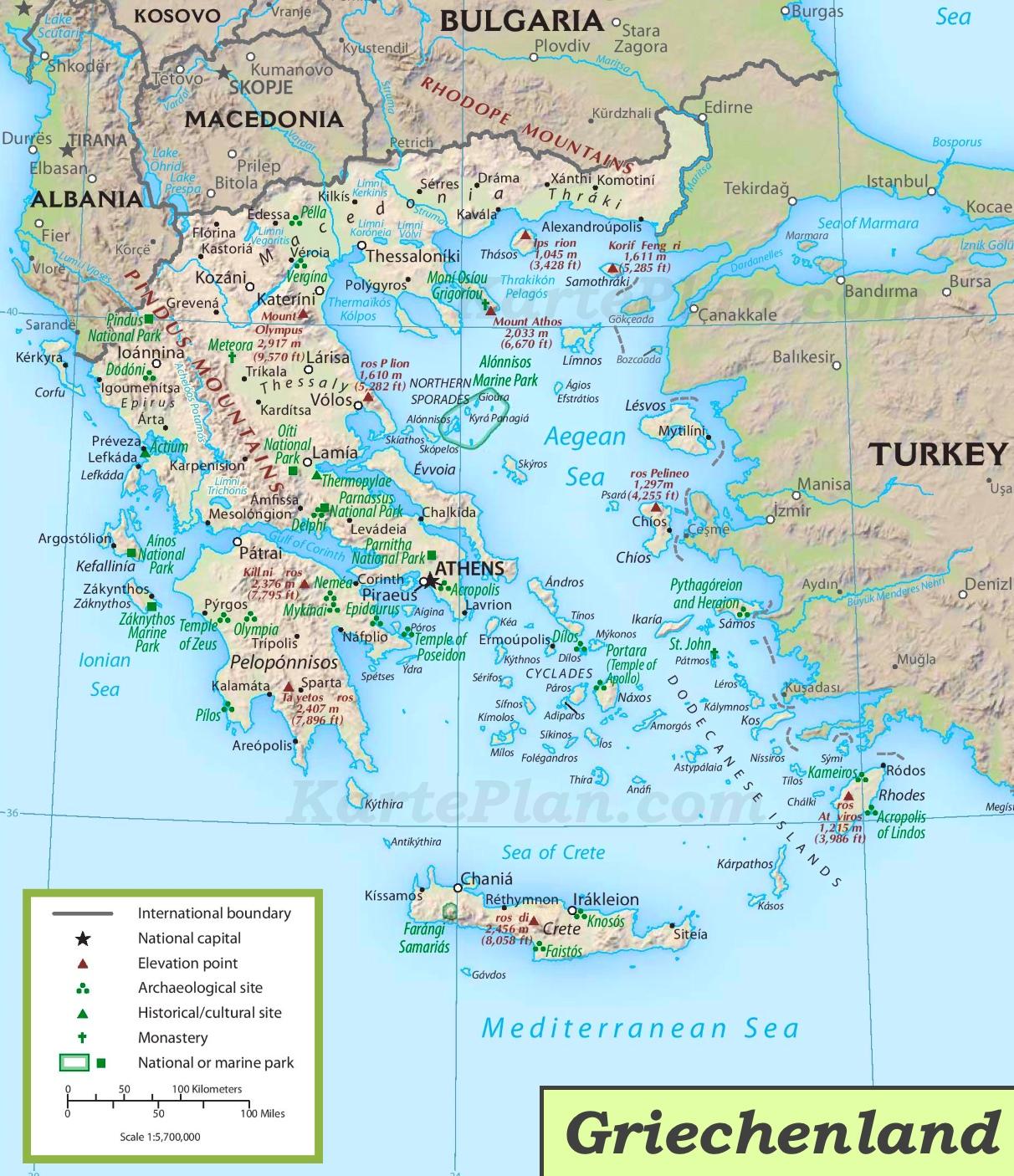 Karte Griechenland.Griechenland Touristische Karte