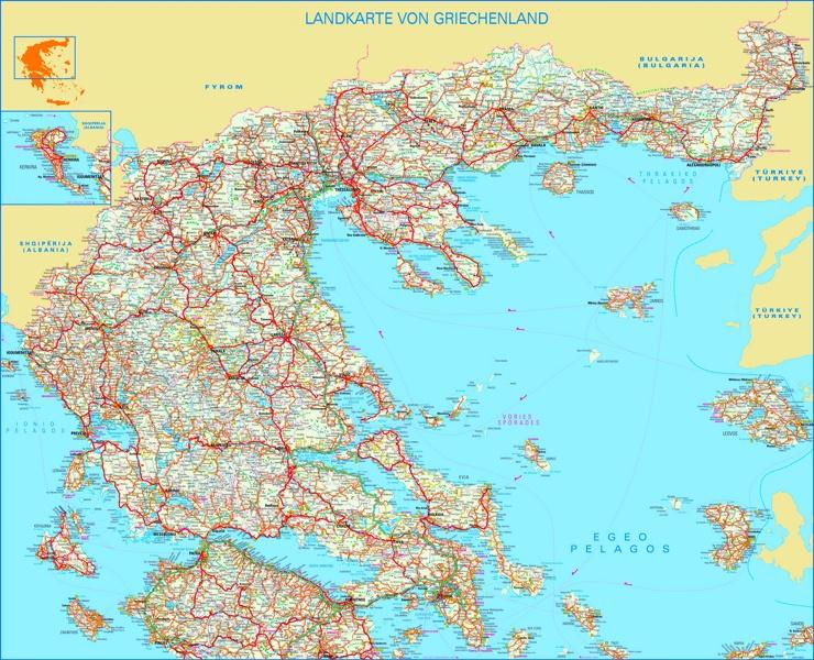 Große detaillierte karte von Griechenland